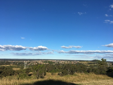 The view over far south-western Sydney from the top of the Botanic gardens