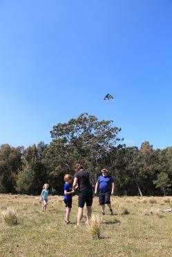 Steve, Angela and their kids, flying the kite