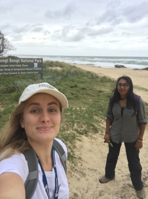 Exploring the beach at Bongil Bongil National Park- fieldwork can take you to some beautiful places
