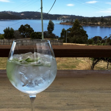 A G&T overlooking the water to finish a day of fieldwork