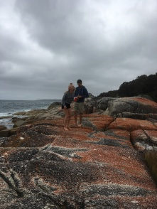Nat and Pete adventuring on the rocks at Bay of Fires