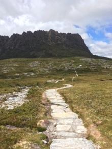 The rocky path towards the intense climb